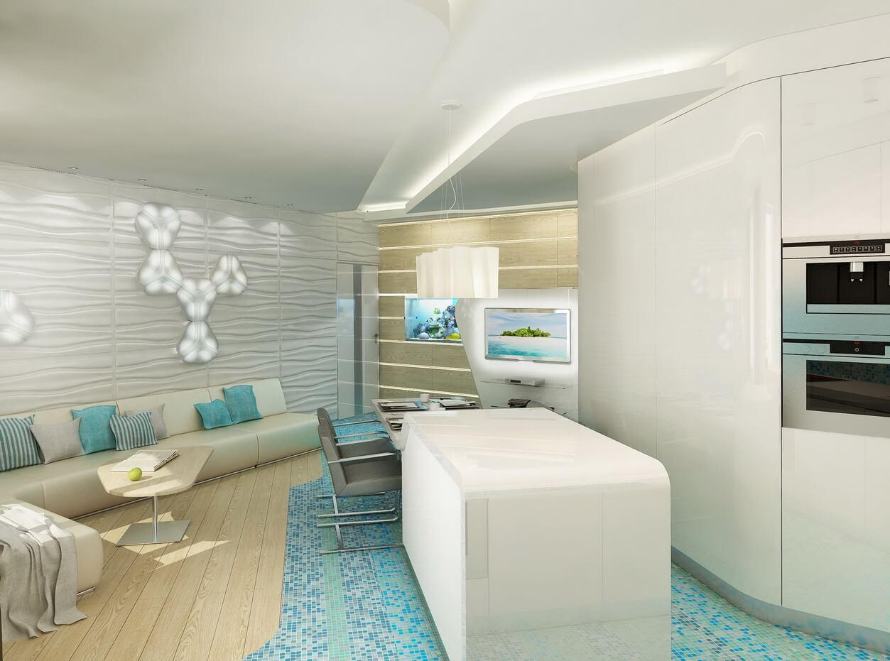 Трехкомнатная квартира в морской стилистике
